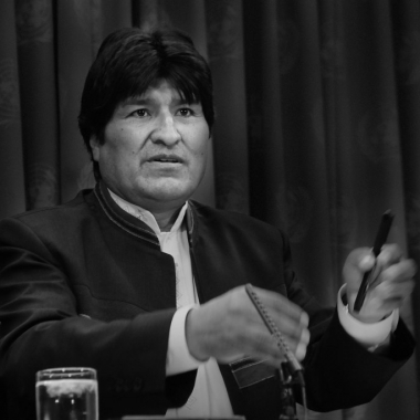 Evo Morales en conferencia de prensa en Las Naciones Unidas